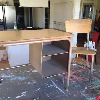 old school desk and chair before - brown metal and wood