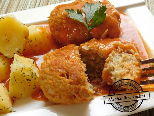 gołąbki pulepeciki pulpety  sosie pomidorowym śląski obiad danie regionalne danie kuchni śląskiej