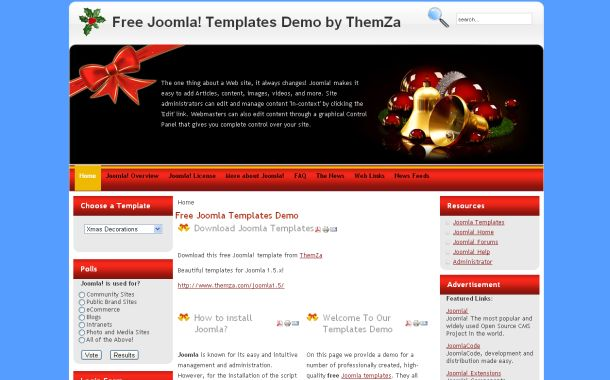 Free Red Blue Christmas Joomla Theme Template