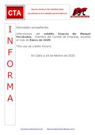 C.T.A. INFORMA CRÉDITO HORARIO MANUEL FERNANDEZ, ENERO 2020