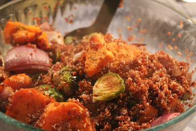 Brussels sprouts, red onion, and yam with quinoa