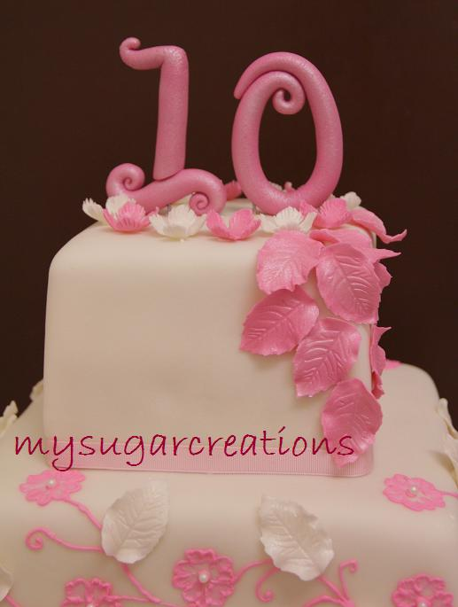 My sugar creations 001943746 m pink 10th wedding for 10th anniversary decoration ideas