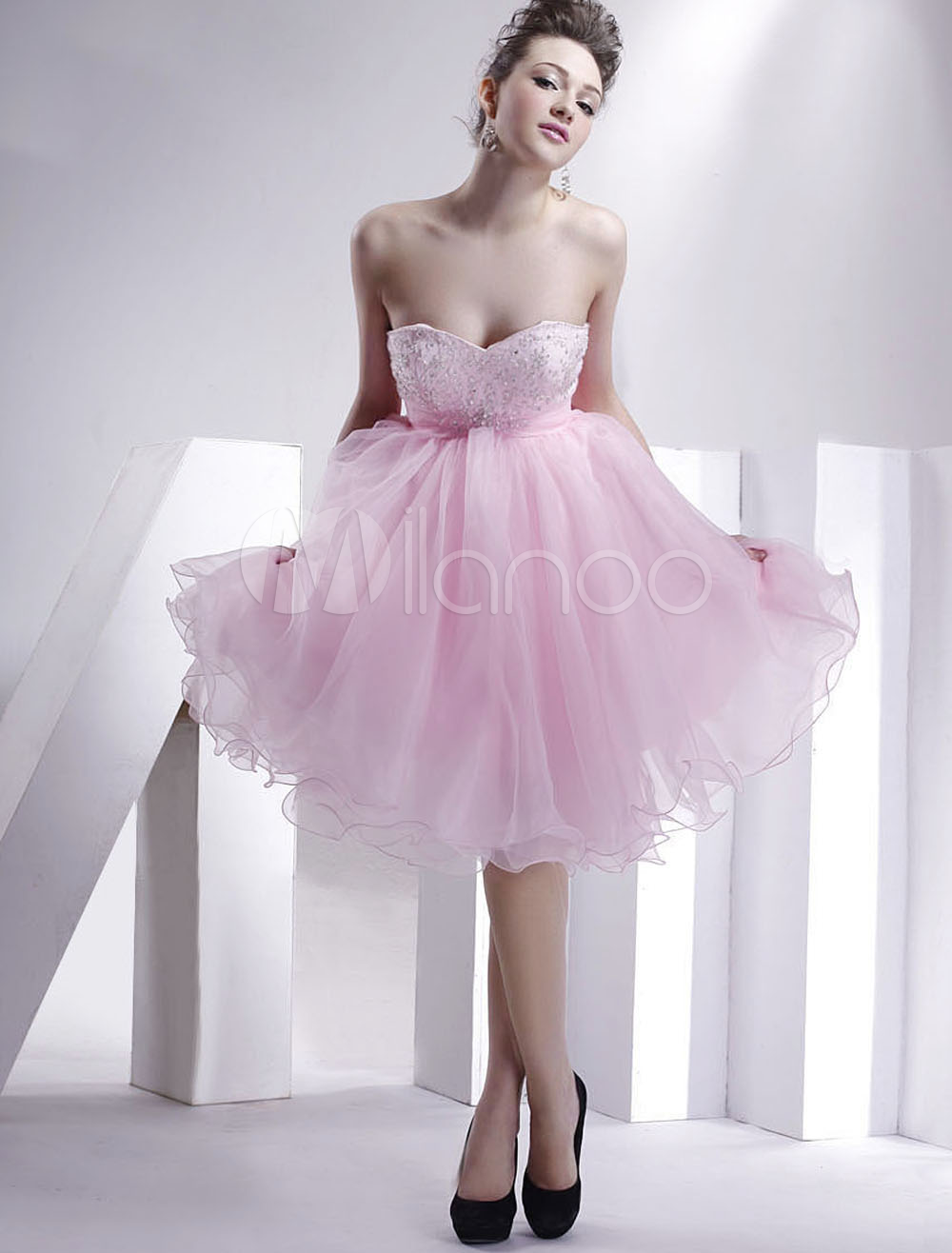 China Wholesale Cocktail Dress - Cute Pink Strapless Sweetheart Beaded Organza Satin Summer Cocktail Homecoming Dress