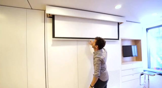 250 square apt pull down tv screen
