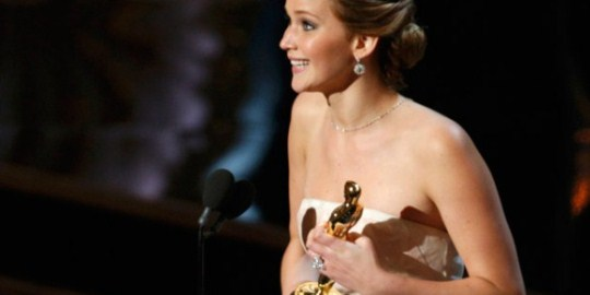 Jennifer Lawrence winning Best Leading Actress for Silver Linings Playbook