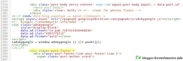 Внедрение кода рекламы Adsens в конце сообщения мобильного шаблона Blogger