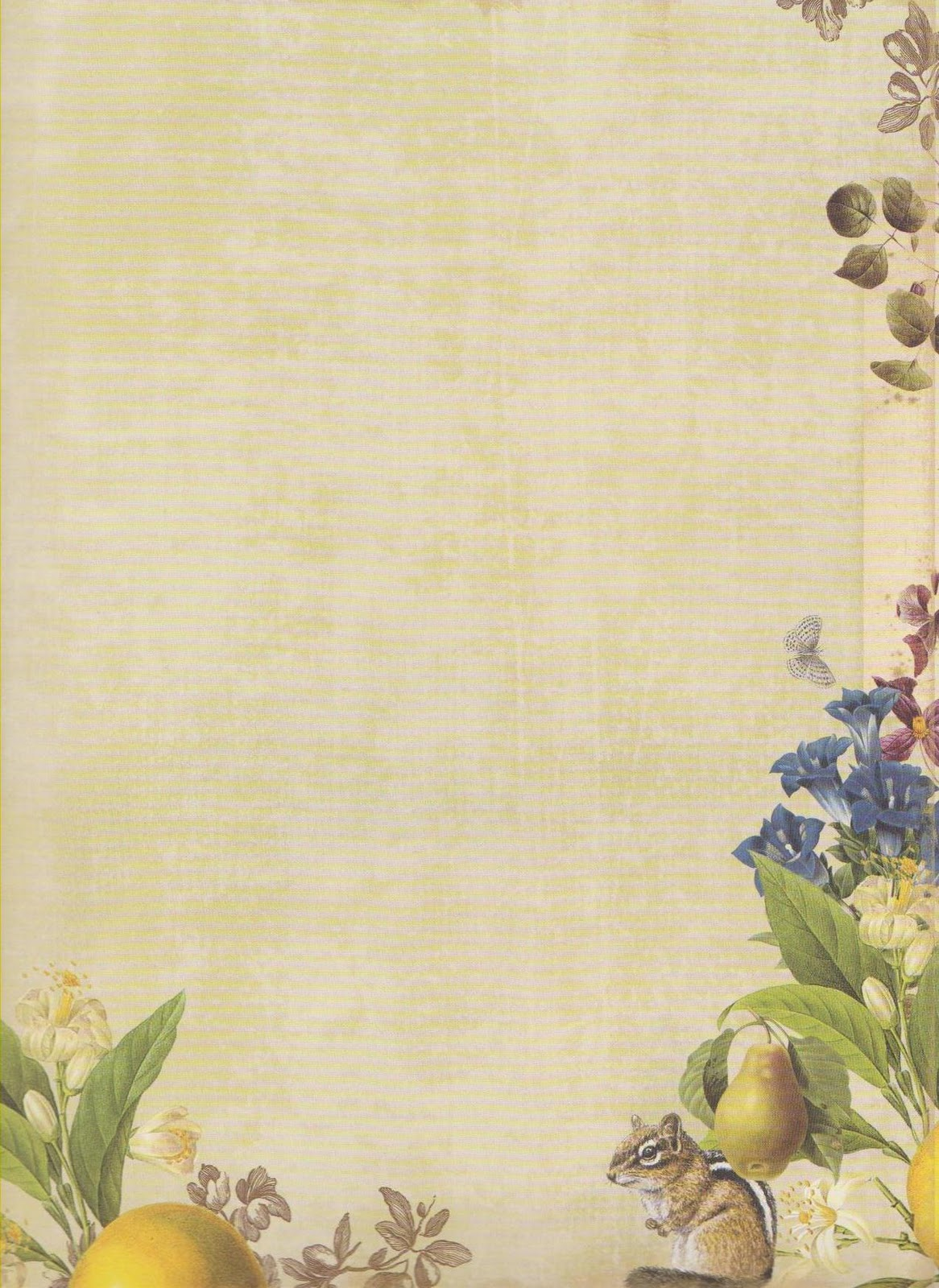 Papel De Carta Papel Decorativo Flores Y Frutas Para