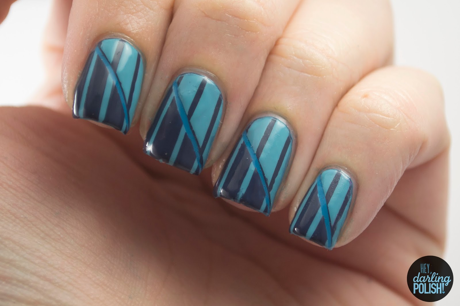 nails, nail art, nail polish, polish, stripes, blue, hey darling polish, theme buffet, monochrome