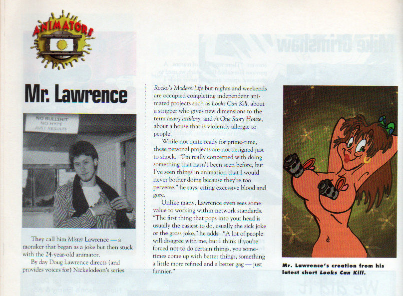 Mr. Lawrence. Rocko's Modern Life director and voice of Filbert.