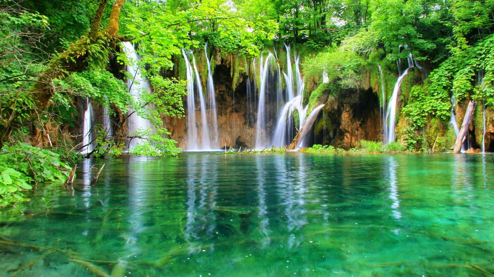 Natuur wallpaper met watervallen in een bos