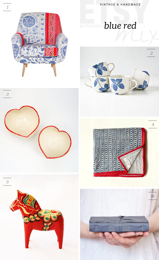 Etsy collection of vintage and handmade homeware in blue and red | My Paradissi