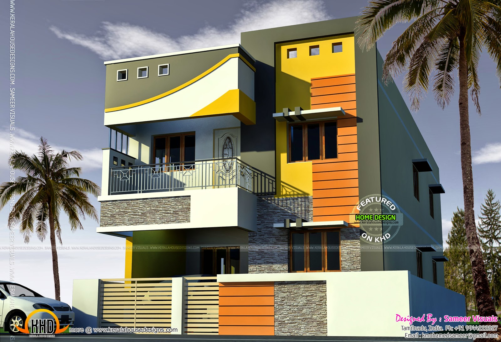 2000 sq feet tamilnadu house kerala home design and for Home designs in tamilnadu