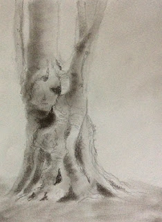 step 2, creating a charcoal sketching of a tree by Manju Panchal
