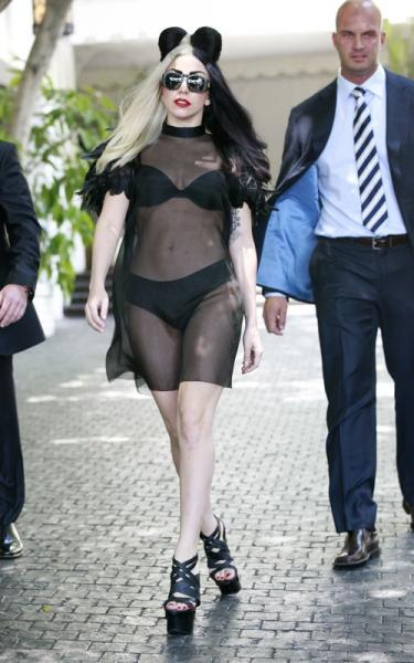 Lady GaGa see-thru to black underwear out in West Hollywood
