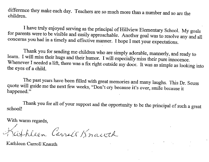 Thank You Letter to Principal From Parent