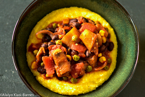 A hybrid Eggplant Caponata with Cheesy Polenta--Pescetarian Journal