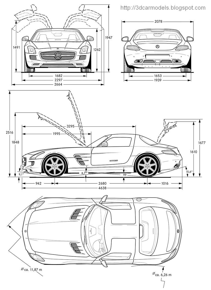 Car blueprints and free 3d models blueprint mercedes benz sls blueprint photo sketch drawings of mercedes benz sls amg 2011 car model malvernweather Choice Image