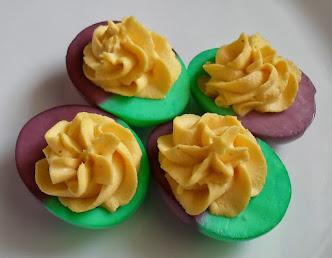 mardi gras dyed deviled eggs