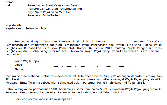contoh surat permohonan SKB untuk Wajib Pajak UKM PP46