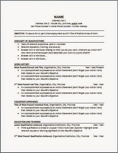 Functional Chronological Resume Template