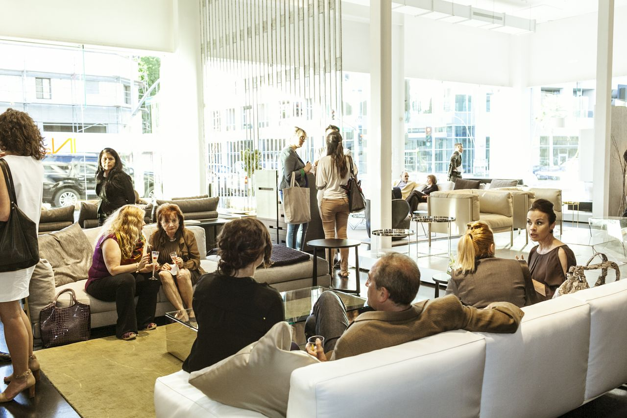 Guests At IN EX Furniture Store Socialized At The Gio Ponti Event In Beverly  Hills