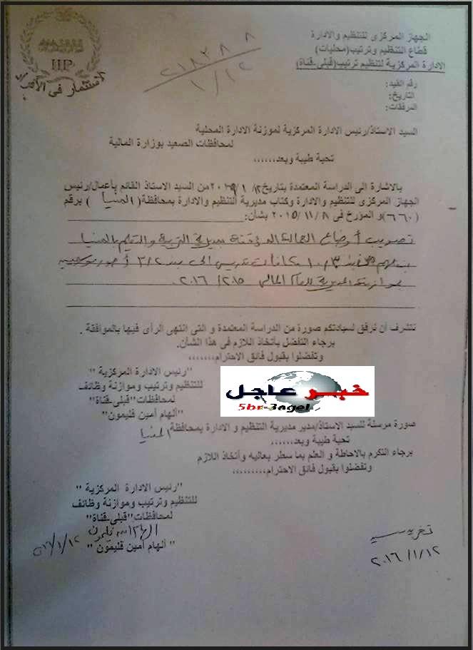 قرار الموافقة على تثبيت العمالة المؤقته من عقد المحافظ بتعليم المنيا بتاريخ 12 / 1 / 2016
