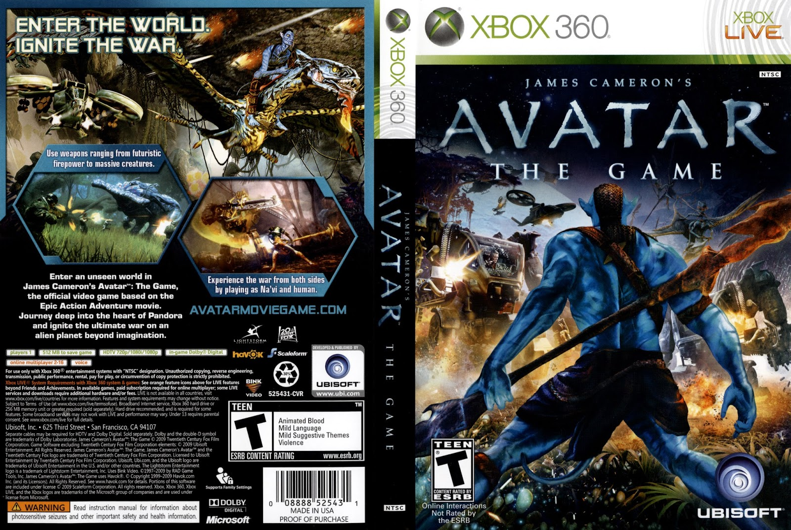 Capa Avatar The Game XBOX 360