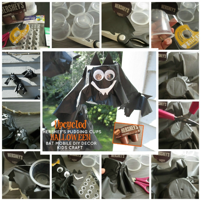 Upcycled Halloween Kids Crafts & Simple DIY Decor - Hershey's Ready To Eat Pudding Cups - How-To Tutorial