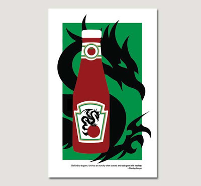 dragon illustration with ketchup bottle on grey