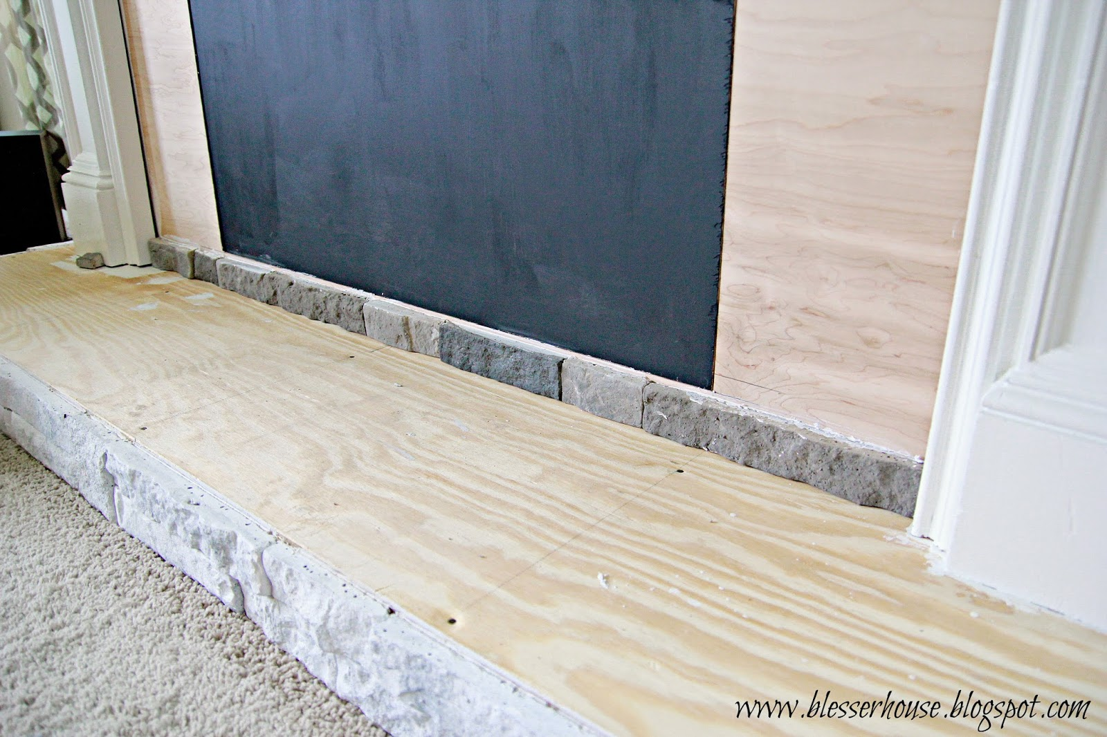 DIY Faux Fireplace Entertainment Center Part Blesser House - Fake rock flooring