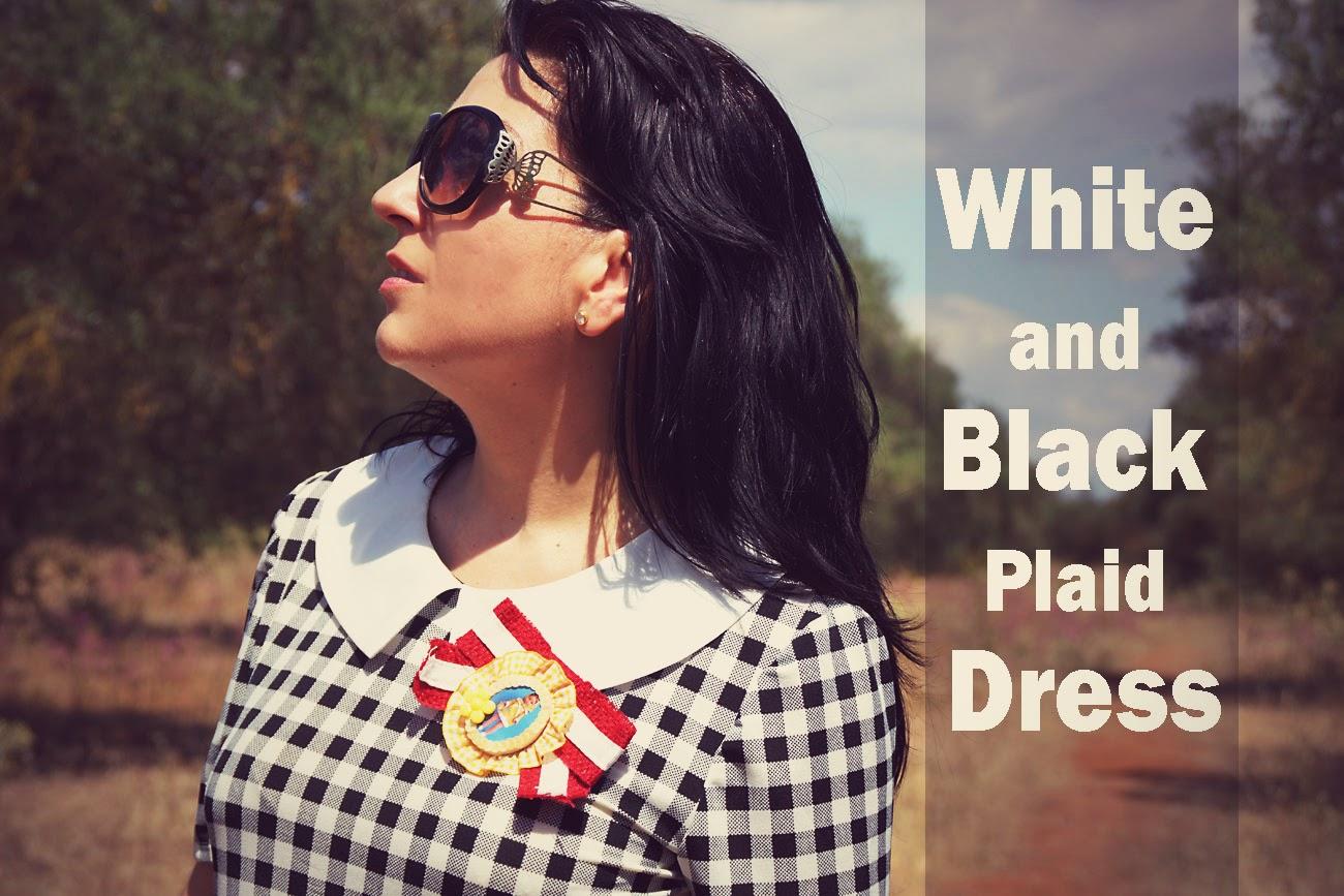 White+and+Black+Plaid+Dress