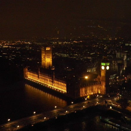 night view from the London Eye