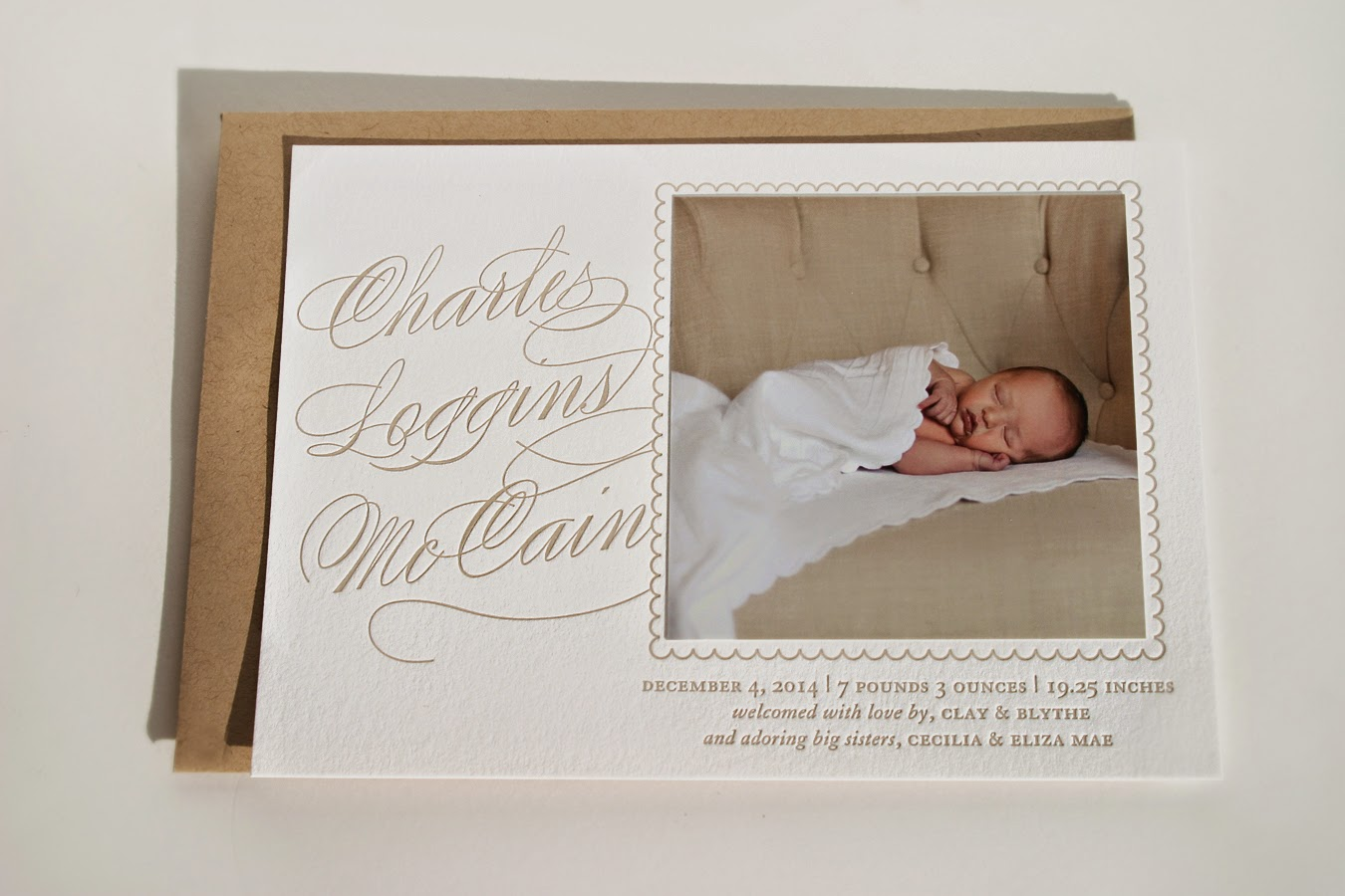 Birth Announcement Letterpress neutral
