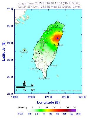 Epicentro sismo 5,3 grados Taiwan, 16 de Julio 2013