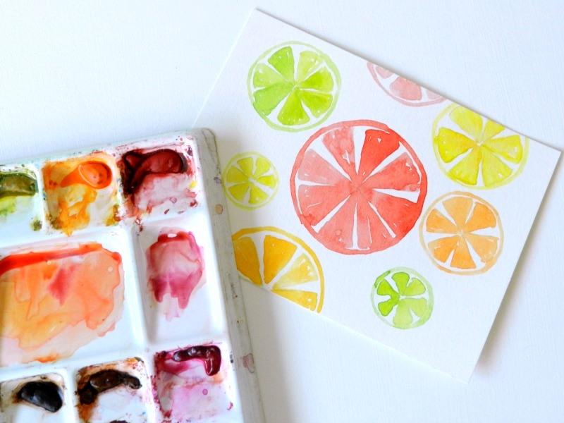 Original Watercolor Citrus Painting: Elise Engh- Grow Creative
