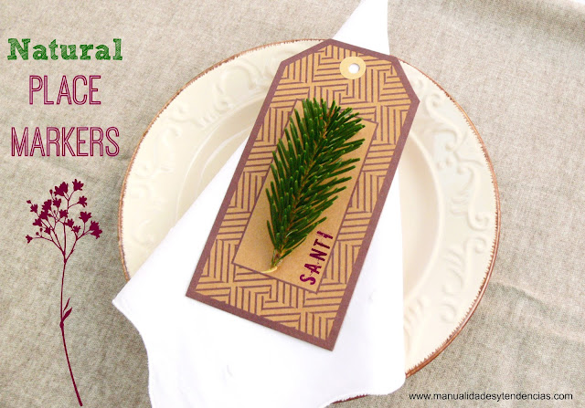 Natural place markers for DIY wedding or Christmas table