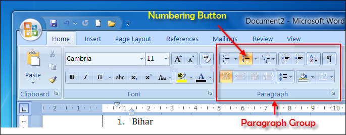 How do i number paragraphs in Microsoft Word?