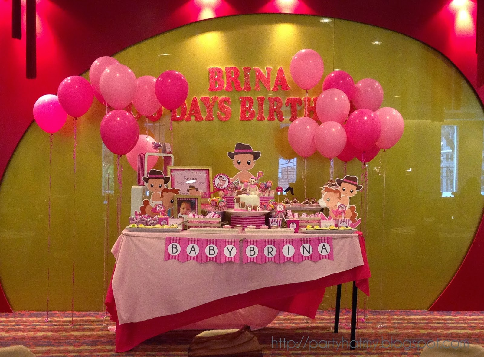 Party hat baby brina 100 days birthday party for Baby full moon party decoration