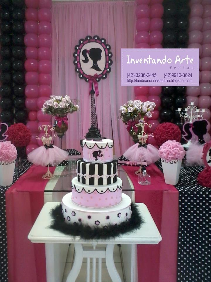 decoracao festa barbie : decoracao festa barbie:Festa Barbie Paris – Preta e Rosa
