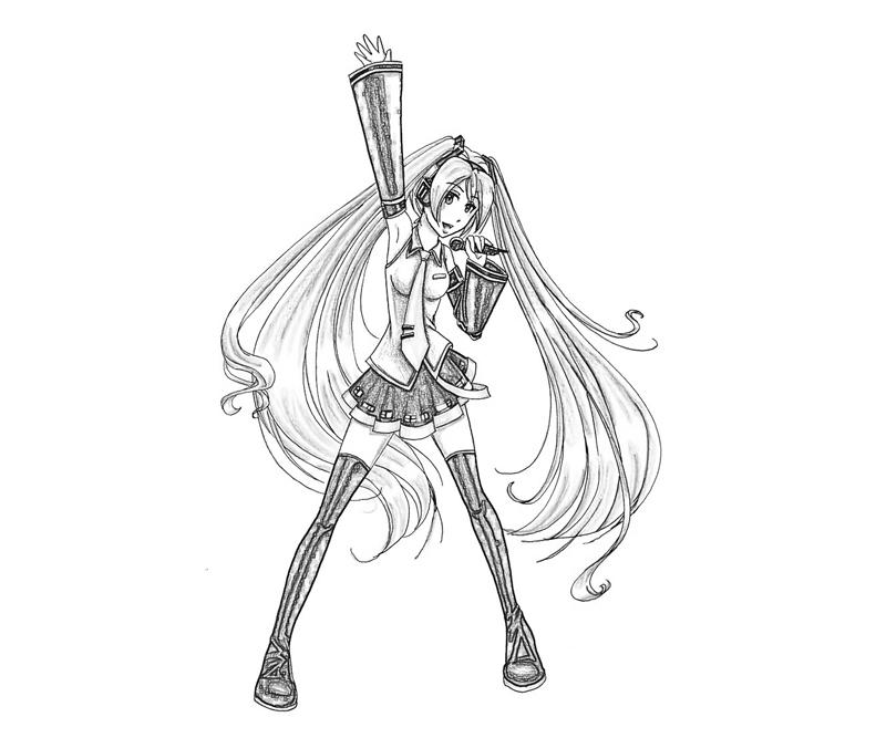 printable hatsune miku project hatsune miku singing coloring pages