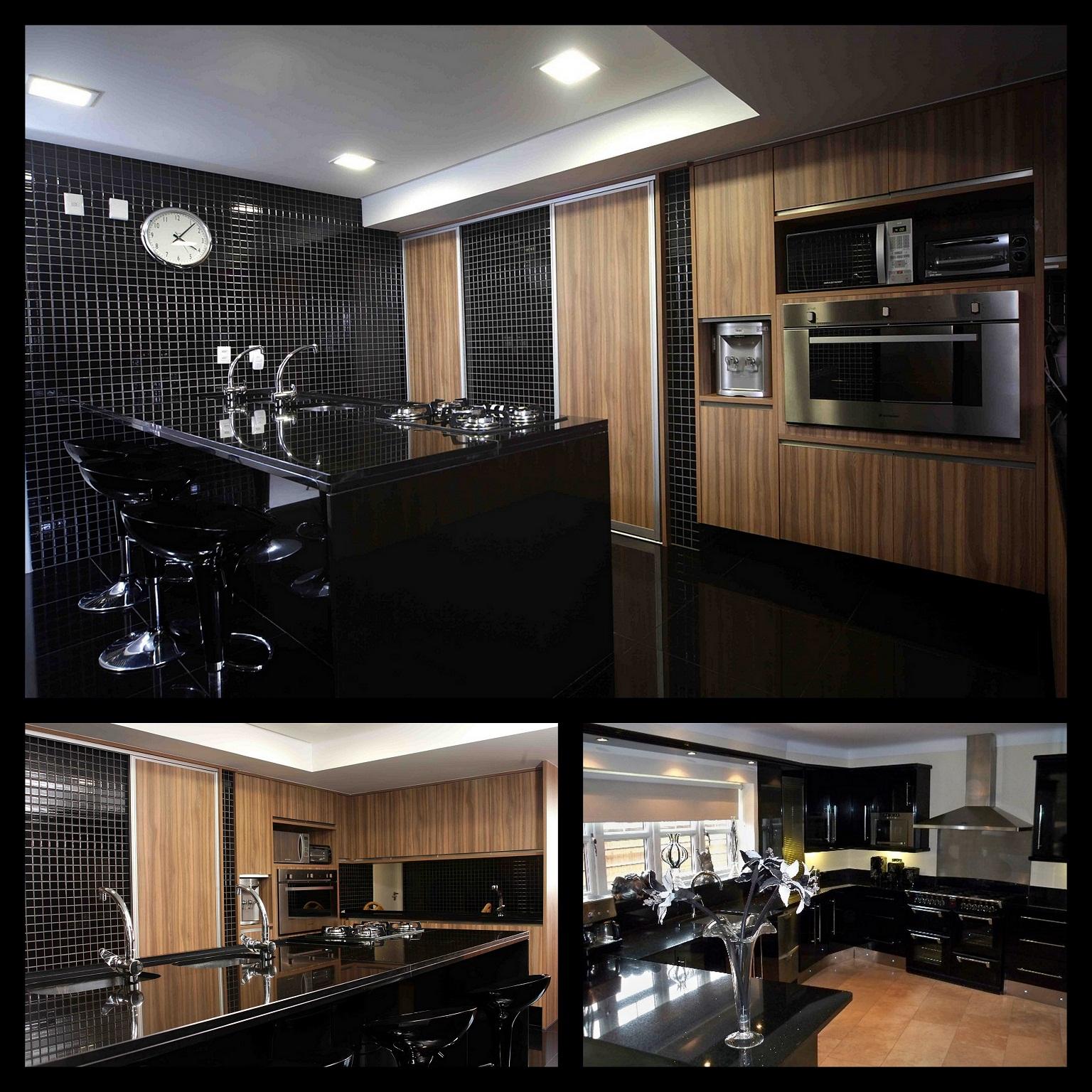 Um estudio de decoracoes.: Cozinha Preta/Sala estar com cimento  #90613B 1536 1536