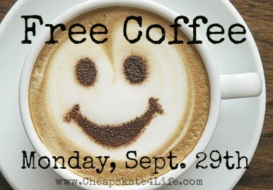 Free Coffee - National Coffee Day - Monday, September 29th