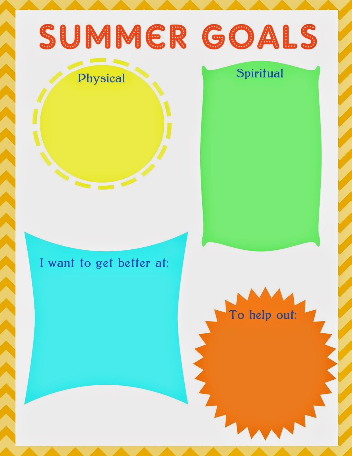 FREE Summer Goals Printable