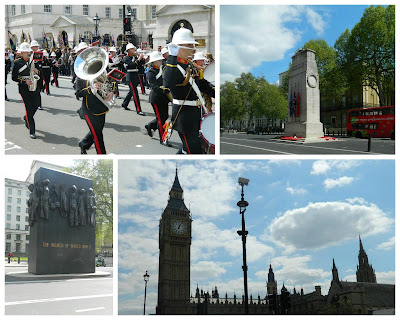 London, brass band, Cenotaph, Women of World War 2 monument, Big Ben, Houses of Parliament, Westminster, London, Whitehall, Downing Street,