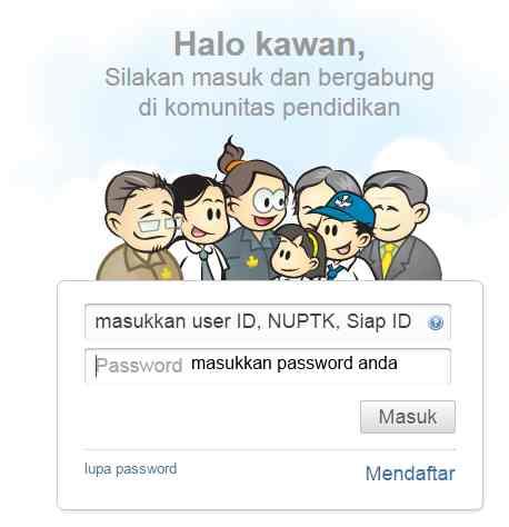 Gambar kotak login PTK di website padamu negeri