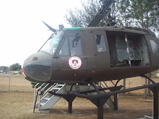 A medical helicopter (UH-1 Huey) that you are encouraged to climb up into