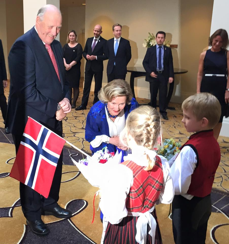 King Harald of Norway and Queen Sonja of Norway attends a Norwegian Community Reception at the Hyatt Hotel