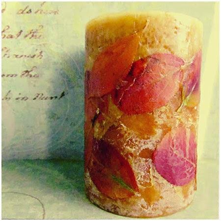 Декоративна свещ с декупаж от есенни листа