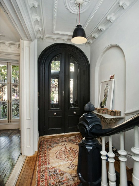 Black Foyer Doors : Stylish spaces designed for living red doors mean welcome