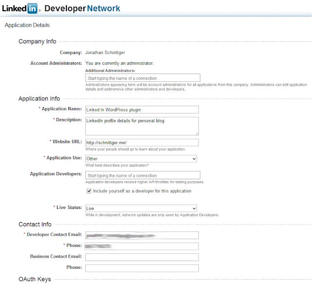 OAuth2 and the LinkedIn API – A WordPress CV/Résumé plugin
